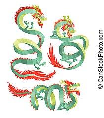 Set of Polygonal Chinese Dragons.