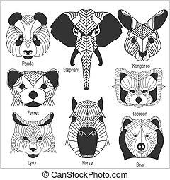 Set of polygonal head animals. Polygonal logos. Geometric...