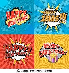 Set of pop art comic happy new year and x-mas vector illustration. Decorative set of backgrounds for happy new year and x-mas with bomb explosive.