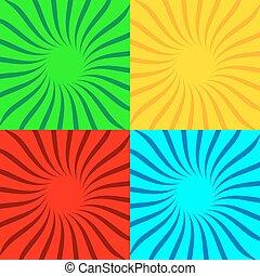 Set of pop art sunbeams backgrounds. Vector Illustration