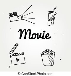 Set of popcorn, camera, hand drawn, movie, graphic