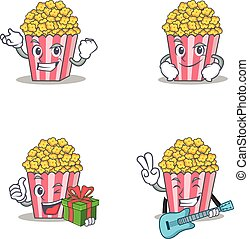 Set of Popcorn character with successful smirking gift guitar