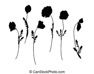 set of poppies silhoutte vector