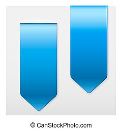Set of Popular blue ribbons sticker on top. Realistic modern style.