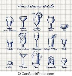 Set of popular drinks