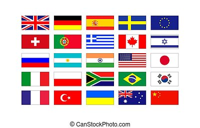 Set of popular flags of the countries of Europe and America isolated on white background. Vector illustration EPS 10
