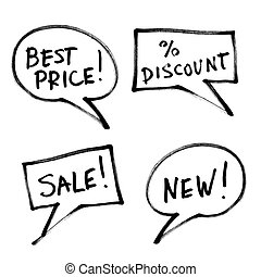 Set of popular slogans, increase sales. Hand-drawn, isolated...