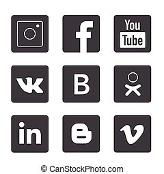 Set of popular social media logos: Instagram, Facebook, Twitter, Youtube, Whats App, Linked In, Pinterest, Blogger and others.