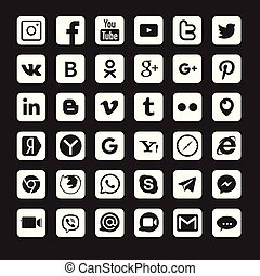 Set of popular social media logos:, , , , Whats App, Linked In,, Blogger and others.