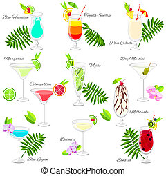 Set of popular summer cocktails isolated on white