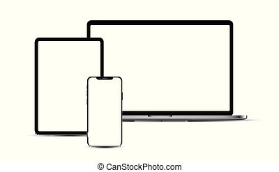 Set of portable electronic devices: smartphone, tablet, laptop.