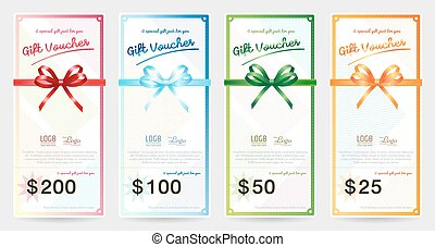 Set of portrait gift voucher or gift card with shiny red,...