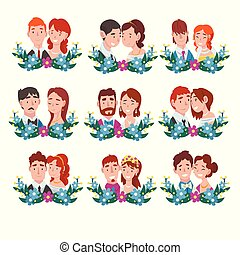 Set of portraits of bride and groom standing behind a wreath cartoon vector illustration