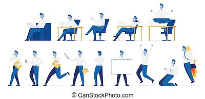 Set of poses businessman with different emotions. Color vector illustration