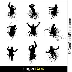 Set of poses for music concert