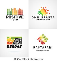 Set of positive africa ephiopia flag logo design. Jamaica reggae dance music vector template. Colorful speaker company concept