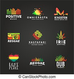 Set of positive africa ephiopia flag logo design. Jamaica reggae dance music vector template. Colorful speaker company concept on dark background.
