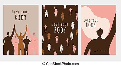 Set of positive naked women posters with different body types and skin colors. Body hair. Body acceptance