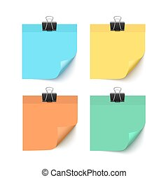 Set of post it notes isolated on white background, vector realistic illustration