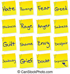Set of post its with netgative emotions