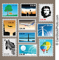 set of post stamps