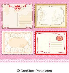 Set of Postcards in vintage design on polka dots pink background.