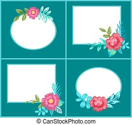 Set of Postcards with Flowers Vector Illustration