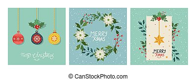 set of poster merry christmas with decorations