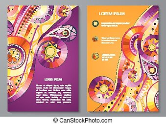 Set of Poster Templates with doddle pattern. - Set of Vector...