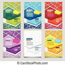 Set of Poster Templates with Triangle Background