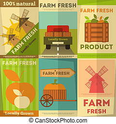 Set of Posters Farm Fresh - Farm Fresh Organic Food Posters ...