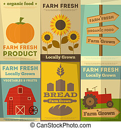 Set of Posters for Organic Farm Food - Organic Farm Food...