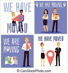 Set of square posters for topic of business office moving, flat cartoon vector illustration. Office relocation informative banners or social media posters collection.