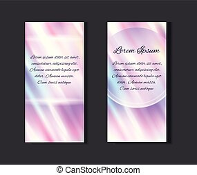 Set of posters with holographic foil background and  with diagonal glare. Blurred spectrum.
