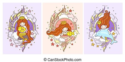 Set of posters with little sweet mermaids, dolphin and fish.