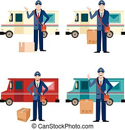 Set of postmen and delivery car