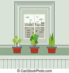 Set Of Pot Plants On Windowsill.