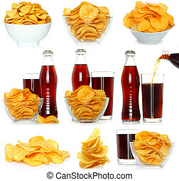 Set of potato chips and cola beverage