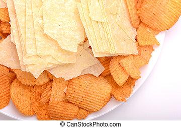Set of potato chips close-up