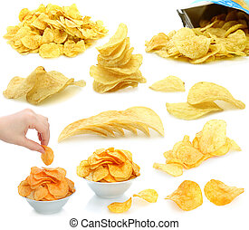 Set of potato chips heaps on a white background