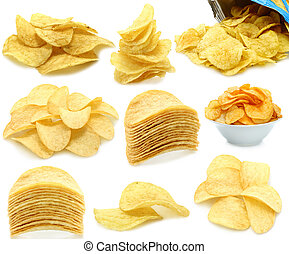 Set of potato chips heaps on a white background