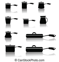 set of pots and pans - illustration with set of pots and...