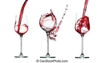 set of Pouring red wine in glass goblet isolated on white