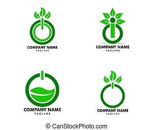Set of Power Button and Leaves Logo Template Design Vector