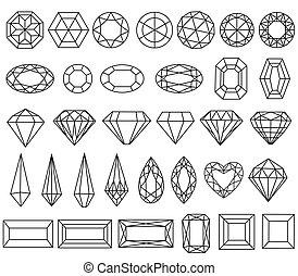 Set of precious stone cut - Graphic drawing gemstone...