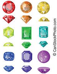 set of precious stones