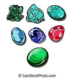Set of precious stones isolated on white background. Vector cartoon close-up illustration.