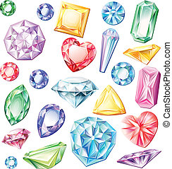 Set of precious stones of different cuts and colors