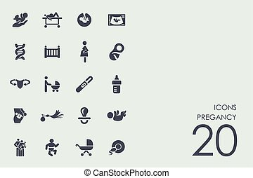 Set of pregancy icons - pregancy vector set of modern simple...