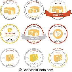 Set of premium Cheese Labels badges. Vector